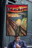 Stop The Coup protests for and against the government during the Brexit vote, Westminster, London. The Scream by Edvard Munch - Jess Hurd - 2010s,2019,ACE,activist,activists,against,art,arts,artwork,artworks,Brexit,CAMPAIGNING,CAMPAIGNS,culture,defend democracy,DEMONSTRATING,demonstration,Downing Street,EU,European Union,fear,fearful,gove