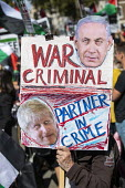 Protests against Benjamin Netanyahu as he is welcomed by Boris Johnson into No. 10 Downing Street, Westminster, London. War Criminal - Jess Hurd - 2010s,2019,activist,activists,against,Benjamin Netanyahu,Boris Johnson,CAMPAIGNING,CAMPAIGNS,CONSERVATIVE,Conservative Party,conservatives,Criminal,CRIMINALS,DEMONSTRATING,demonstration,Downing Street