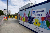 Costain Skanska hoarding, Euston, london around a demolition and construction site for the London terminal of the HS2 high speed train line - Philip Wolmuth - 2010s,2019,Ampthill Estate,cities,City,Construction Industry,demolish,DEMOLISHED,demolishing,demolition,developer,developers,DEVELOPMENT,EBF,Economic,Economy,ENGINEER,engineers,Euston,high speed rail,