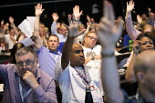 Unison delegates voting, TUC Congress, Brighton 2019. Roger McKenzie - Jess Hurd - 2010s,2019,Brighton,Conference,conferences,DELEGATE,Delegates,democracy,member,member members,members,people,Roger McKenzie,trade union,trade union,trade unions,trades union,trades union,trades unions
