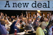 Delegates voting, TUC Conference, Brighton, 2019 - John Harris - 2010s,2019,Conference,conferences,delegate,delegates,delegation,democracy,Hands up,member,member members,members,NEU,people,Trade Union,Trade Union,Trade Unions,Trades Union,Trades Union,Trades unions