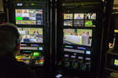 Video camera control suite, TUC Conference, Brighton, 2019 - John Harris - 2010s,2019,camera,cameras,Conference,conferences,employee,employees,Employment,job,jobs,LBR,member,member members,members,operator,operators,people,staff,Trade Union,Trade Union,Trade Unions,Trades Un