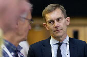 Seumas Milne talking to journalists, TUC Conference, Brighton, 2019 - John Harris - 13-09-2019