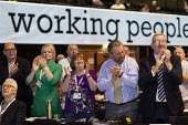 Unite delegation applauding, TUC Conference, Brighton, 2019 - John Harris - 2010s,2019,applauding,APPLAUSE,Conference,conferences,delegate,delegates,delegation,FEMALE,member,member members,members,people,person,persons,Trade Union,Trade Union,Trade Unions,Trades Union,Trades