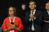 Sian Jones, Head of Media, Seumas Milne labour Party Director of Communications listening to Jeremy Corbyn speaking, TUC Conference, Brighton, 2019 - John Harris - 2010s,2019,adult,adults,ADVICE,ADVISE,ADVISER,advisers,advisor,advisors,attention,attentive,Communications,Conference,conferences,Director,DIRECTORS,Jeremy Corbyn,Labour Party,listen,listening,media,P