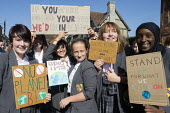School pupils Global Climate Strike protest, Stratford-upon-Avon, Warwickshire - John Harris - 2010s,2019,activist,activists,adolescence,adolescent,adolescents,against,BAME,BAMEs,Black,Black and White,BME,bmes,CAMPAIGNING,CAMPAIGNS,child,CHILDHOOD,children,Climate Change,DEMONSTRATING,Demonstra