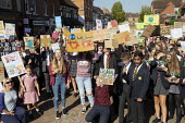 School pupils Global Climate Strike protest, Stratford-upon-Avon, Warwickshire - John Harris - 2010s,2019,activist,activists,adolescence,adolescent,adolescents,against,BAME,BAMEs,Black,Black and White,BME,bmes,boy,boys,CAMPAIGNING,CAMPAIGNS,child,CHILDHOOD,children,Climate Change,DEMONSTRATING,