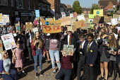 School pupils Global Climate Strike protest, Stratford-upon-Avon, Warwickshire - John Harris - 2010s,2019,activist,activists,adolescence,adolescent,adolescents,against,CAMPAIGNING,CAMPAIGNS,child,CHILDHOOD,children,Climate Change,DEMONSTRATING,Demonstration,environment,environmental,Environment