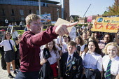 School pupils Global Climate Strike protest, Stratford-upon-Avon, Warwickshire - John Harris - 2010s,2019,activist,activists,adolescence,adolescent,adolescents,against,boy,boys,CAMPAIGNING,CAMPAIGNS,child,CHILDHOOD,children,Climate Change,DEMONSTRATING,Demonstration,environment,environmental,En