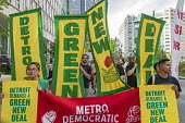Detroit, Michigan, USA Global Climate Strike protest. Green New Deal - Jim West - DSA,2010s,2019,activist,activists,against,America,banner,banners,CAMPAIGNING,CAMPAIGNS,climate change,climate justice,climate strike,Democrat,Democratic Party,Democratic Socialist Of America,Democrats