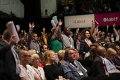 Delegates voting on Brexit motion, Labour Party Conference, Brighton, 2019 - Jess Hurd - 2010s,2019,BAME,BAMEs,Black,BME,bmes,Brexit,Brighton,Conference,conferences,delegate,delegates,democracy,diversity,ethnic,ethnicity,Hands up,Labour Party,Labour Party Conference,minorities,minority,Pa