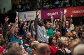 Delegates voting on Brexit motion, Labour Party Conference, Brighton, 2019 - Jess Hurd - 2010s,2019,BAME,BAMEs,Black,BME,bmes,Brexit,Brighton,Conference,conferences,delegate,delegates,democracy,diversity,ethnic,ethnicity,FEMALE,Hands up,Labour Party,Labour Party Conference,minorities,mino