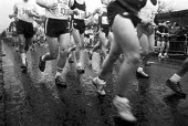 Runners in the first London Marathon 1981 Sponsored by Gillette - Katalin Arkell - 1980s,1981,1st,amateur,amateurs,cities,City,first,First London marathon,highway,hobbies,hobby,hobbyist,leg,legs,Leisure,LFL,LIFE,London,long distance,marathon,marathons,PEOPLE,PHYSICAL,race,RECREATION