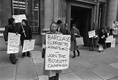 Anti Apartheid protest, Barclays bank, Haymarket, London 1978 in opposition to their financial support for the South African Apartheid regime - Martin Mayer - 03-03-1978