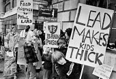 Protest against leaded petrol, London, 1980. Lead and health hazards of ingestion for children - Martin Mayer - 26-03-1980