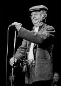Clive Dunn performing, ASLEF Centenary Rally 1980 - Martin Mayer - 1980,1980s,ACE,act,acting,actor,actors,Art,ASLEF,centenary,Clive Dunn,comedian,comedians,comedy,Culture,ENTERTAINER,ENTERTAINERS,entertainment,FUNNY,HUMOROUS,HUMOUR,joking,member,member members,member