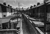 Back-to-back terraced housing, Birkenhead, near Liverpool, 1979 shortly before being demolished to make way for high rise council housing. - Martin Mayer - 05-05-1979