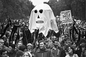 Anti nuclear weapons protest London 1980 Pax Christi says NO! to the Trident monster - NLA - peace movement,1980,1980s,activist,activists,against,Anti,Anti nuclear,Anti Nuclear weapons,anti war,Antiwar,atomic,bomb,bombs,Campaign for nuclear disarmament,CAMPAIGNING,CAMPAIGNS,CND,cruise missile