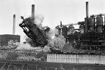 Demolition of Corby steelworks, Northamptonshire 1981 - NLA - 1980s,1981,blast furnace,capitalism,close,closed,closing,closure,closures,Corby steelworks,deindustrialisation,deindustrialization,demolish,demolished,demolishing,demolition,DEVELOPMENT,EBF,Economic,E