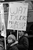 Wat Tyler invoked on protest against charging parents for school bus transport, Tilbury, Essex, 1982 Wat Tyler was one of the leaders of the Peasants Revolt of 1381 - NLA - 1980s,1982,activist,activists,against,bus,bus service,BUSES,CAMPAIGNING,CAMPAIGNS,charging,DEMONSTRATING,Demonstration,Essex,FAMILY,PARENT,parenthood,PARENTING,parents,PEASANT,Peasants,placard,placard