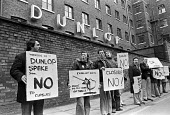 Workers protest at closure of Dunlop factory, Speke, Liverpool 1979 with the loss of 2400 jobs - NLA - 1970s,1979,activist,activists,against,CAMPAIGNING,CAMPAIGNS,close,closed,closing,closure,closures,deindustrialisation,deindustrialization,DEMONSTRATING,Demonstration,Dunlop,FACTORIES,factory,job loss,