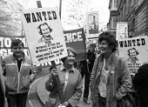 Jill Craigie (L) and Jill Tweedie (R), feminist protest, London 1981 against Margaret Thatcher in particular - NLA - 04-05-1981