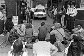 Sit down protest against closure of St Leonards Hospital, 1984, Hackney, East London - NLA - 16-09-1984