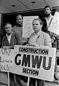 GMWU members protest, asbestos press conference 1982 - Peter Arkell - 1980s,1982,activist,activists,against,Asbestos,asbestosis,ban,banning,bans,Building Worker,CAMPAIGNING,CAMPAIGNS,conference,conferences,DEMONSTRATING,Demonstration,GMWU,hazard,hazardous,hazards,Health
