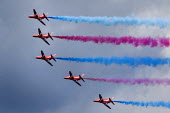RAF Red Arrows Display Team performing, Torbay Airshow 2017 - Paul Box - 2010s,2017,aerial display,aerial displays,aerial stunt,aerial stunts,aerobatic,aerobatics,aeroplane,aeroplanes,air show,air shows,air transport,aircraft,airplane,airplanes,Airshow,AIRSHOWS,armed force