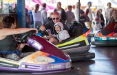 Dodgems, Fairground, Torbay Airshow 2017 - Paul Box - 2010s,2017,air show,air shows,air transport,Airshow,AIRSHOWS,AUTO,AUTOMOBILE,AUTOMOBILES,boy,boys,bumper cars,car,cars,child,CHILDHOOD,children,DAD,DADDIES,DADDY,DADS,Dodgems,driver,drivers,driving,fa