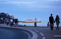 Tourists, Corsica Ferries - Sardinia Ferries ship departing, Port of Nice, France - Paul Box - 28-06-2013