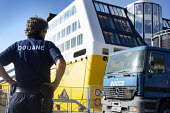 Customs officers checking lorries, Bastia, Corsica, France - Paul Box - 02-07-2013