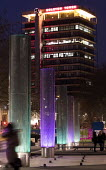Colston Tower and street lights, Bristol - Paul Box - 2010s,2016,ACE,architecture,Arts,building,buildings,cities,City,color,colorful,colorfull,colors,colour,colourful,colours,Culture,EBF,Economic,Economy,evening,night time,scene,scenes,street,streets,Urb