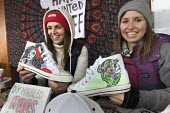 Young women with hand decorated trainers, stall at Harbourside Market, Bristol - Paul Box - 19-03-2016