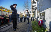 Anniversary of the death of woman Firefighter Fleur Lombard whist fighting a fire, Bristol. Twenty years since her tragic death, firefighters from across Avon gathered for a ceremony at her memorial - Paul Box - 2010s,2018,adult,adults,anniversary,Bristol,ceremonies,ceremony,death,death at work,deaths,DIA,died,FBU,FEMALE,fighting,fire,fire brigade,Firefighter,firefighters,fireman,firemen,fires,Fleur Lombard,f