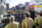 Anniversary of the death of woman Firefighter Fleur Lombard whist fighting a fire, Bristol. Twenty years since her tragic death, firefighters from across Avon gathered for a ceremony at her memorial - Paul Box - 04-02-2018