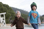 Brothers on a family holiday, Formentor Playa beach, Mallorca, Spain - Paul Box - 2010s,2018,autism,autistic,beach,BEACHES,Behavioural,Brothers,COAST,country,countryside,difficulties,disorder,disorders,families,family,HEA,Health,holiday,holiday maker,holiday makers,holidaymaker,hol