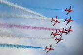 RAF Red Arrows display team performing, Torbay airshow, 2018 - Paul Box - 02-06-2018