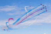 RAF Red Arrows display team performing, Torbay airshow, 2018 - Paul Box - 2010s,2018,aerial display,aerial displays,aerial stunt,aerial stunts,aerobatic,aerobatics,aeroplane,aeroplanes,air show,air shows,air transport,aircraft,airplane,airplanes,airshow,AIRSHOWS,armed force