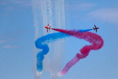 RAF Red Arrows display team performing, Torbay airshow, 2018 - Paul Box - 03-06-2018