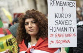 Stop the Turkish Invasion of Rojava protest, London. Kurdistan Solidarity Campaign Rise up for Rojava rally against against the war on Kurds in Syria - Jess Hurd - 2010s,2019,activist,activists,against,anti war,Antiwar,BAME,BAMEs,BME,bmes,campaign,campaigning,CAMPAIGNS,DEMONSTRATING,demonstration,diversity,ethnic,ethnicity,FEMALE,KSC,kurd,kurdish,Kurdistan,Kurdi