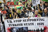 Stop the Turkish Invasion of Rojava protest, London. Kurdistan Solidarity Campaign Rise up for Rojava rally against against the war on Kurds in Syria - Jess Hurd - 2010s,2019,activist,activists,against,anti war,Antiwar,BAME,BAMEs,banner,banners,BME,bmes,campaign,campaigning,CAMPAIGNS,DEMONSTRATING,demonstration,diversity,ethnic,ethnicity,KSC,kurd,kurdish,Kurdist