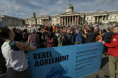 Rebel Agreement, Extinction Rebellion climate activists defy the police ban on London protest. Save our Planet: Save our right to peaceful protest. Trafalgar Square. - Jess Hurd - 16-10-2019