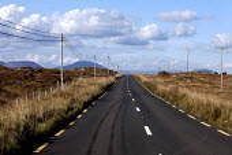 Connemara, Ireland, skid marks on N59 road from Galway to Maam Cross. The Wild Atlantic Way scenic drive - David Mansell - 23-09-2012
