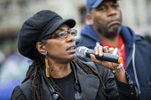 Marcia Rigg, sister of Sean Rigg speaking, Annual United Families and Friends Campaign march against deaths in police custody, Whitehall, Westminster, London. - Jess Hurd - 26-10-2019
