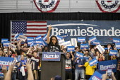 Detroit, USA: Rashida Tlaib speaking, Bernie Sanders Presedential campaign rally 2020 - Jim West - 2010s,2019,2020 election,America,BAME,BAMEs,Bernie,Bernie Sanders,Black,BME,bmes,campaign,campaigning,CAMPAIGNS,candidate,candidates,democracy,Democrat,Democratic Party,Democrats,Detroit,diversity,ele