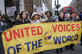 UVW pay and conditions strike, Sodexo, St. Mary's Hospital, London. Migrant cleaners, caterers and porters outsourced by Imperial College Healthcare NHS Trust to French multinational Sodexo, demanding... - Philip Wolmuth - 28-10-2019