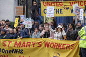 UVW pay and conditions strike, Sodexo, St. Mary's Hospital, London. Migrant cleaners, caterers and porters outsourced by Imperial College Healthcare NHS Trust to French multinational Sodexo, demanding... - Philip Wolmuth - 2010s,2019,BAME,BAMEs,banner,banners,Black,BME,bmes,CLEANER,cleaners,CLEANING,College,COLLEGES,contracted out,contractor,contractors,DISPUTE,disputes,diversity,EARNINGS,Equal Rights,equality,ethnic,et