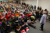 Jeremy Corbyn speaking Labour Party Election Campaign Rally Gloucester - John Harris - 02-11-2019