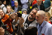Jeremy Corbyn speaking Labour Party Election Campaign Rally, Filton, Bristol - John Harris - 2010s,2019,audience,AUDIENCES,CAMERA,camera phone,cameras,campaign,campaigning,CAMPAIGNS,DEMOCRACY,Election,elections,General Election,Jeremy Corbyn,Labour Party,MP,MPs,Party,POL,political,politician,